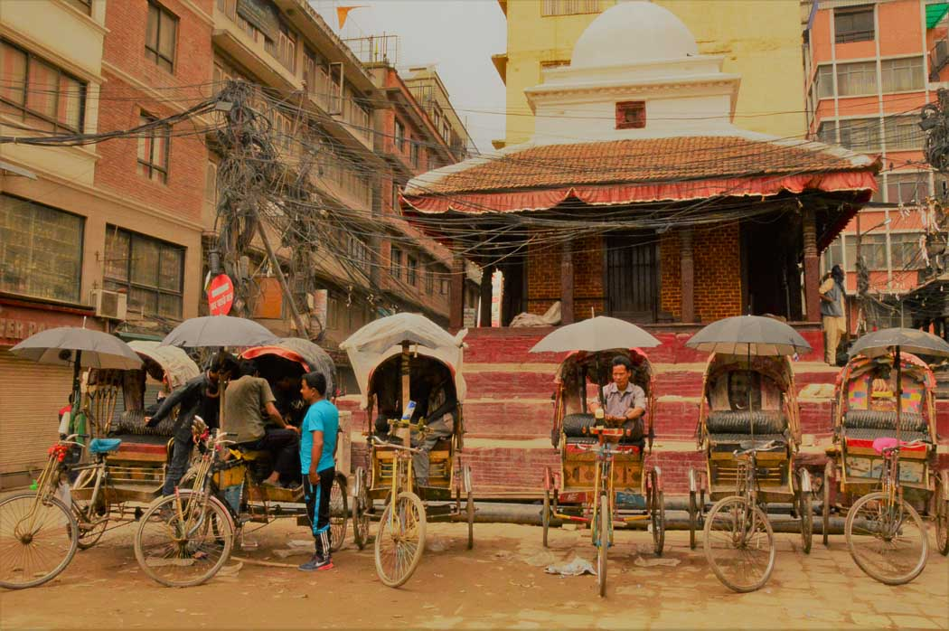 Rickshaws lined up at Durbar Square