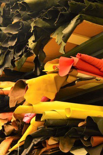 rolls of multi coloured leather conor holden workshop dingle peninsula ireland