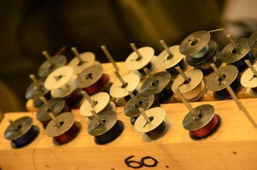 spools of thread at conor holden workshop dingle peninsula ireland