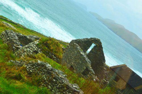 partially built stone cottage on sea front dingle peninsula ireland