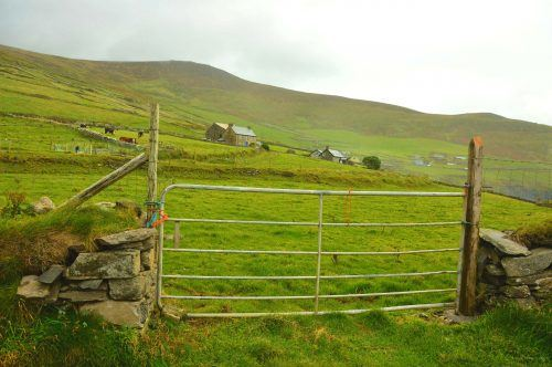 gate with grassy hill and houses in background dingle peninsula ireland