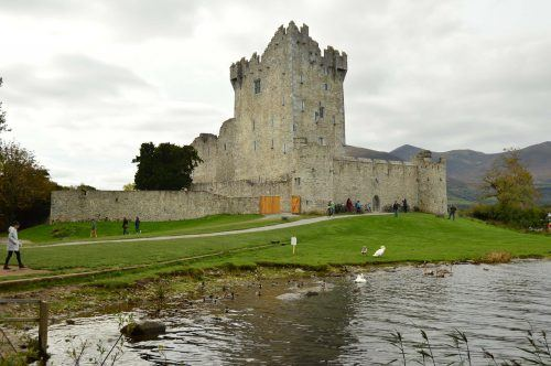 ross castle with lake in foreground in killarney ireland