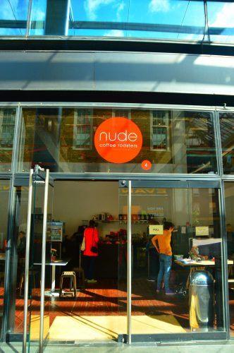exterior of nude coffee shop spitalfields east london