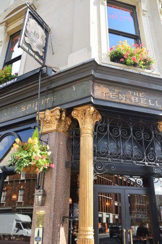 street corner with the ten bells pub east london