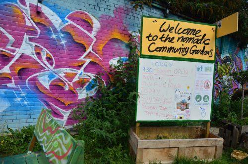 entrance to nomadic community gardens east london