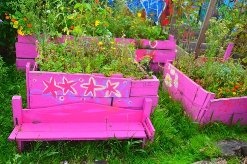 pink wooden seats and plant carriers with plants inside east london