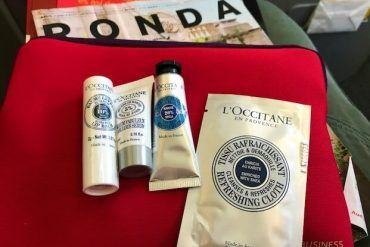 l'occitane toiletries and red bag iberia airlines business class