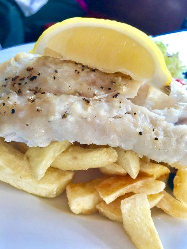 grilled fish and chips with lemon dingle peninsula ireland