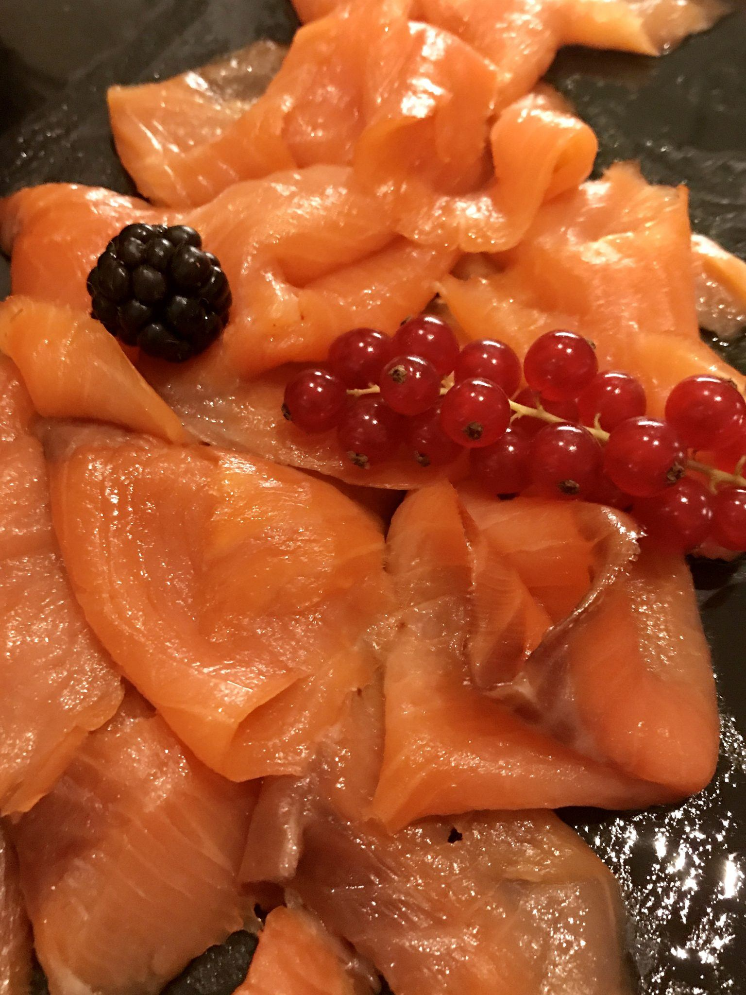 smoked salmon with berries at Arosa Kitzbühel