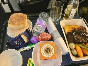 in flight meal all courses british airways world traveller plus