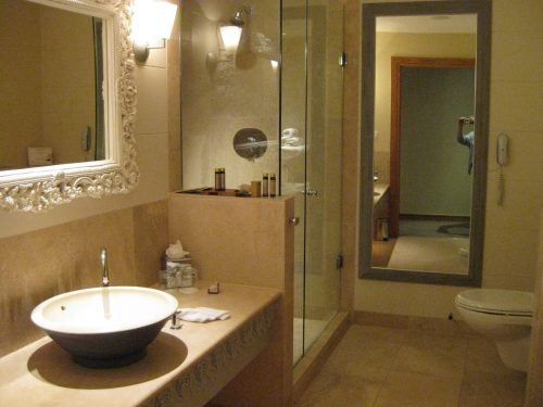 bathroom with sink and toilet and shower monart spa ireland
