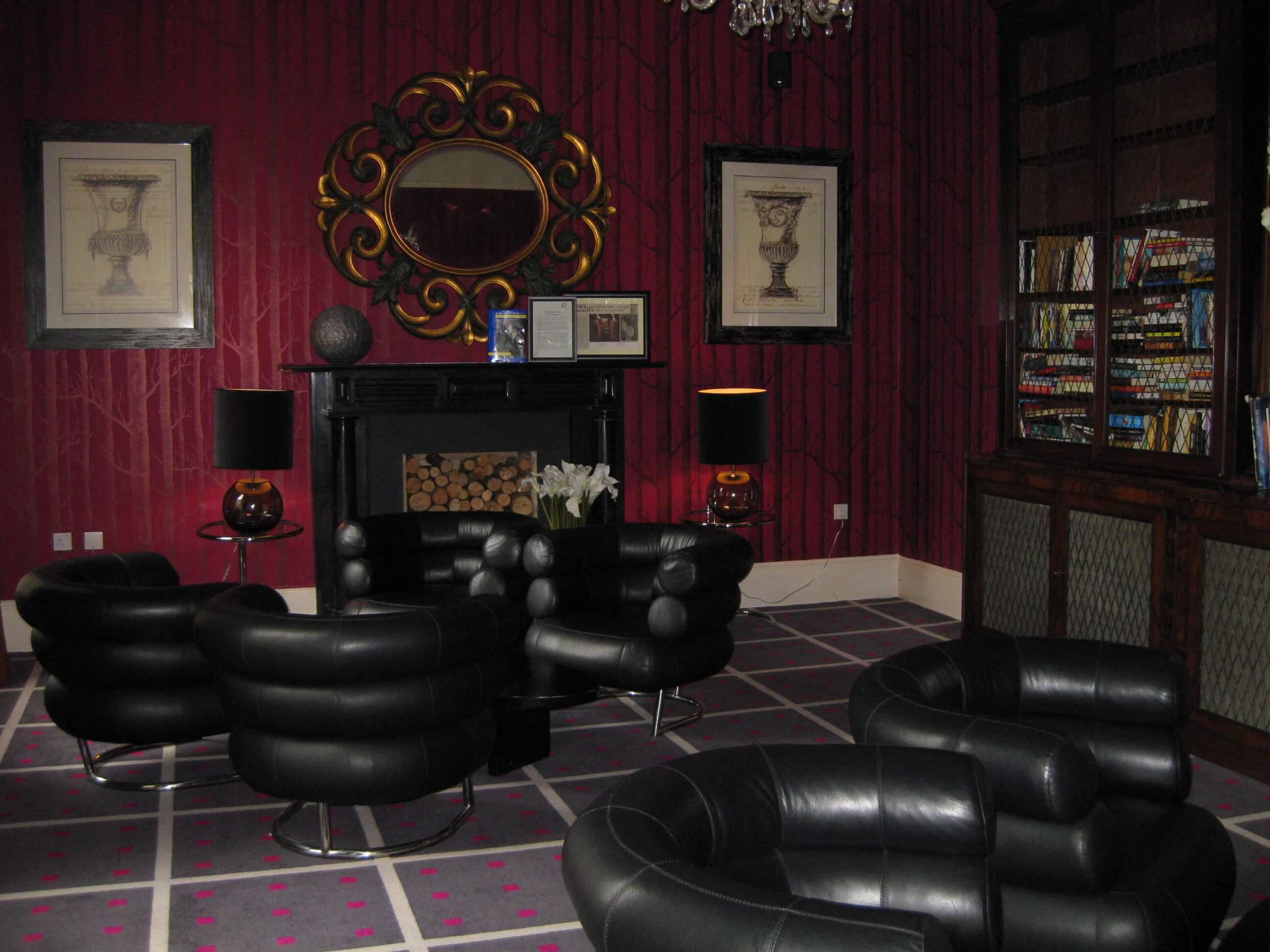 library room with dark seats at monart spa ireland