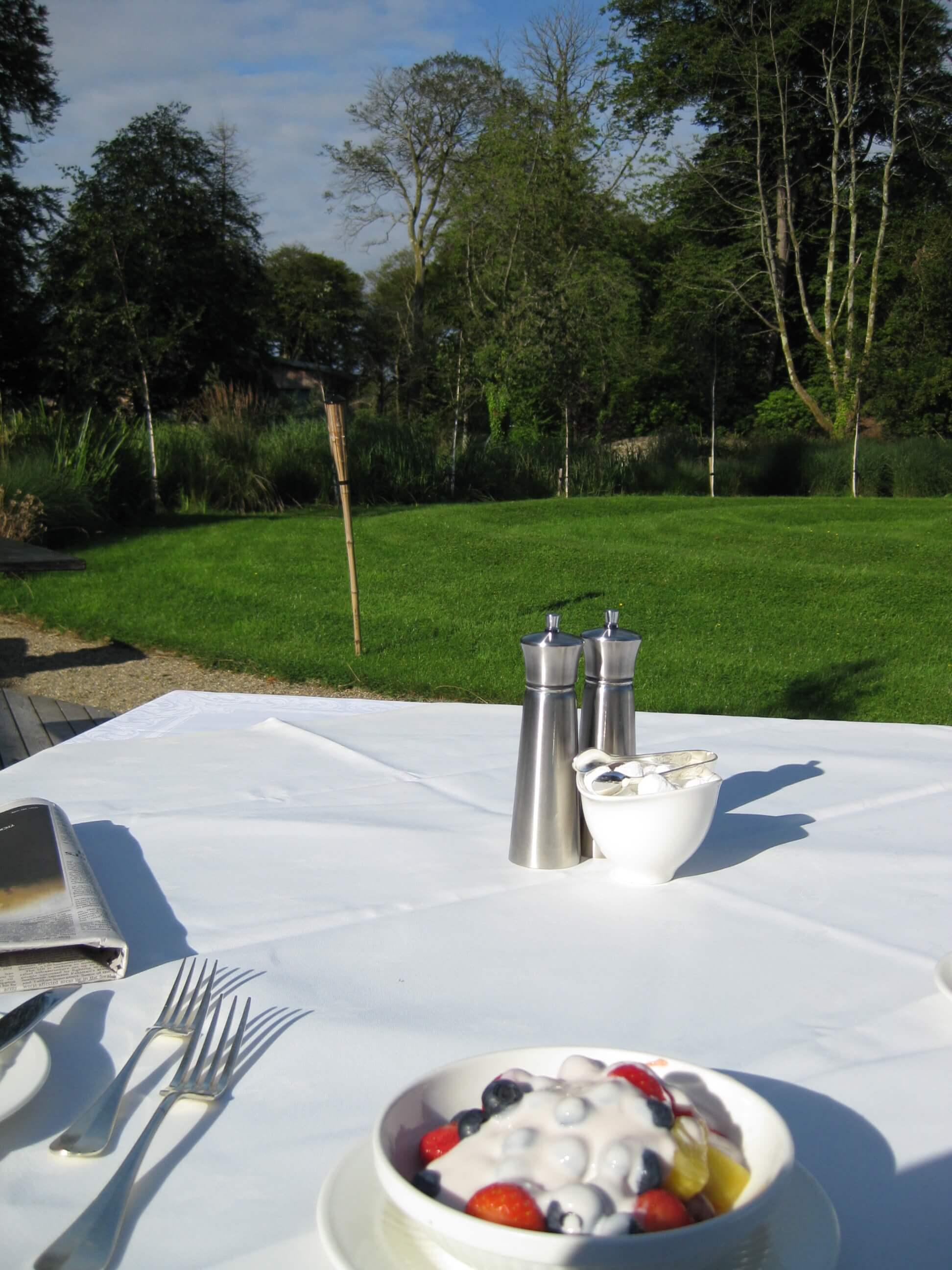outside table with fruit and yoghurt monart spa ireland