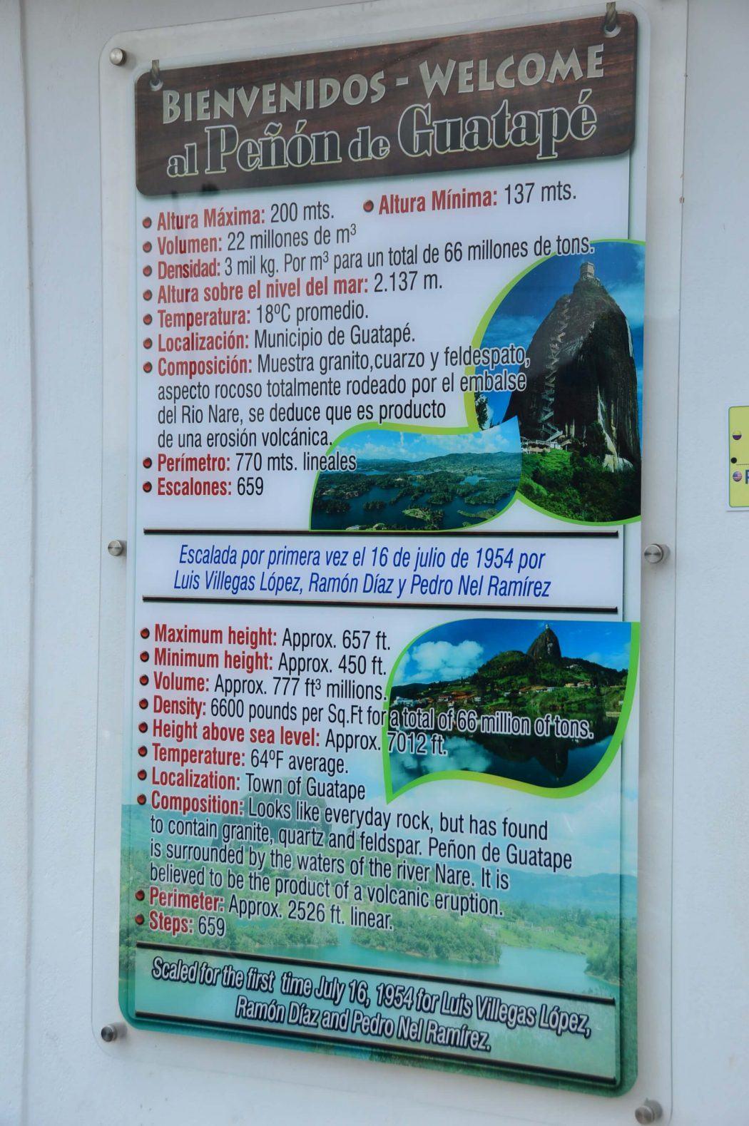 instructions on climbing al Penon de Guatape