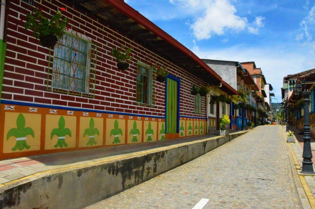 colourful street in guatape colombia