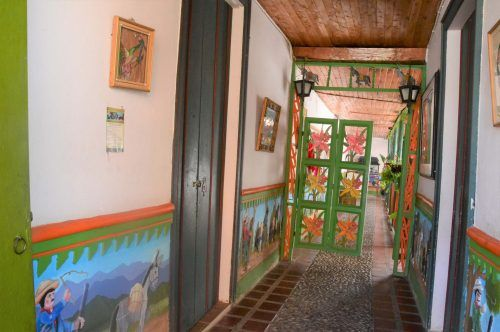 very colourful inside of house guatape