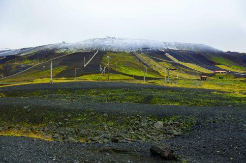 View of ski fields from the meeting point of Inside the volcano iceland