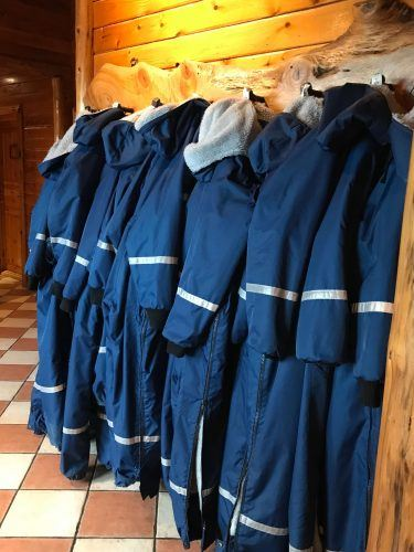 blue snow suits hanging at hotel ranga iceland