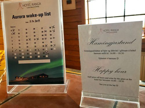 aurora wake up list sign at hotel ranga iceland