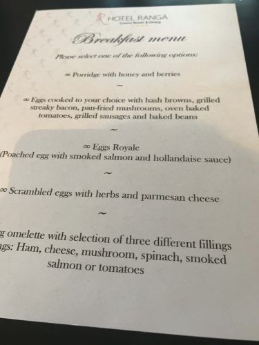 breakfast menu at hotel ranga iceland
