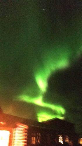 northern lights above hotel ranga iceland