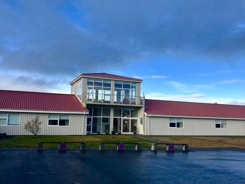 exterior of northern lights inn hotel iceland