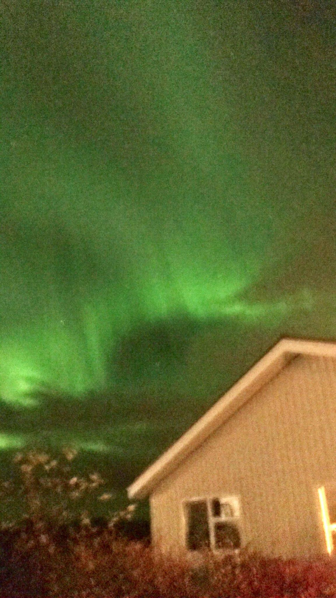 The northern lights over the Northern Light Inn Iceland