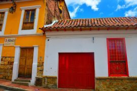 yellow and red colourful houses in old town bogota