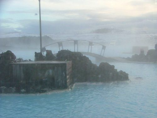 bridge and rocks at the blue lagoon