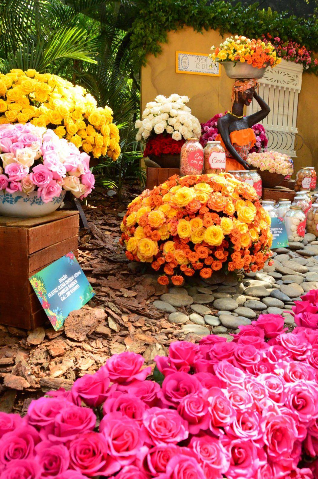 Festival de las flores display of orange and pink flowers