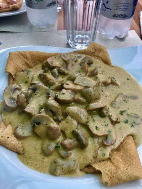 Crepe with mushroom sauce at Crepe and Waffle Medellin
