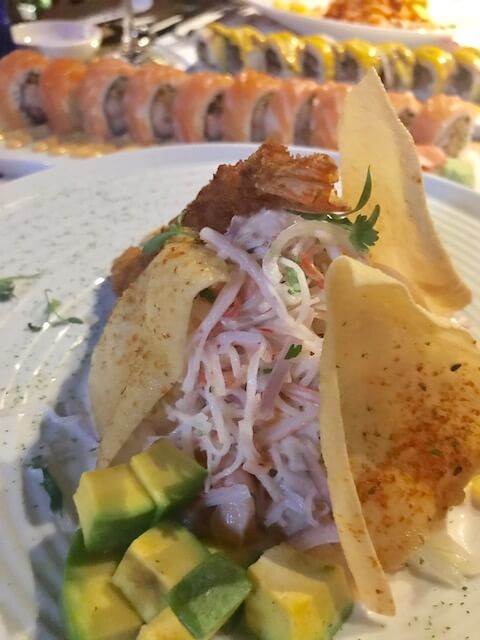 ceviche, avocado and sushi at Mistura Medellin