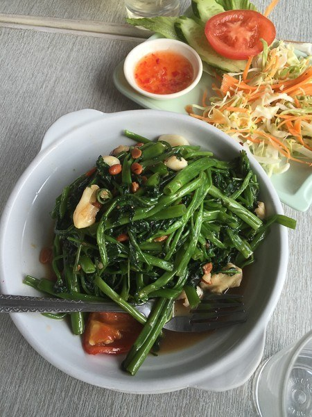 green vegetables in a white bowl shek o hong kong