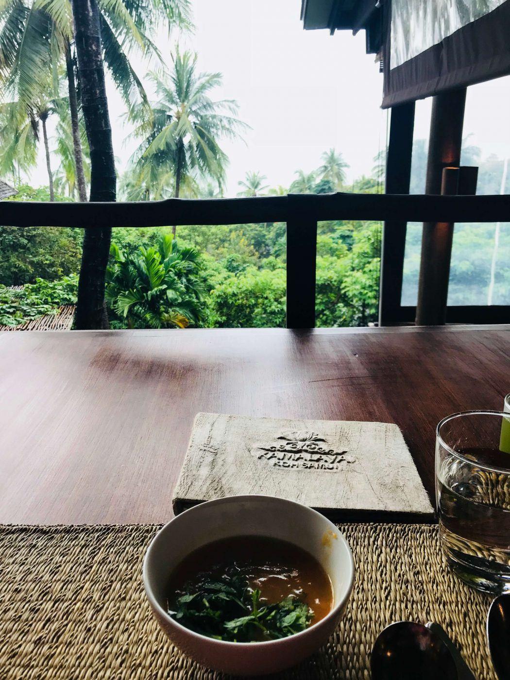 kamalaya soup with view onto the sea