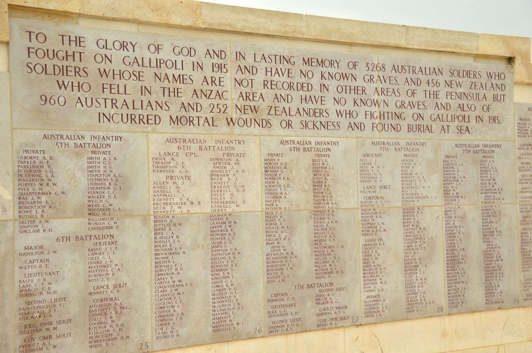 listed names of those who died carved into stone on the gallipoli peninsula