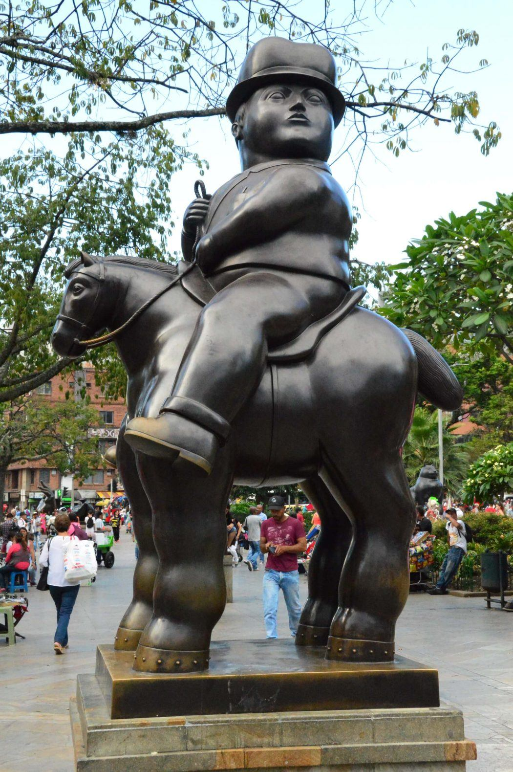 botero statue of man on horse in plaza botero