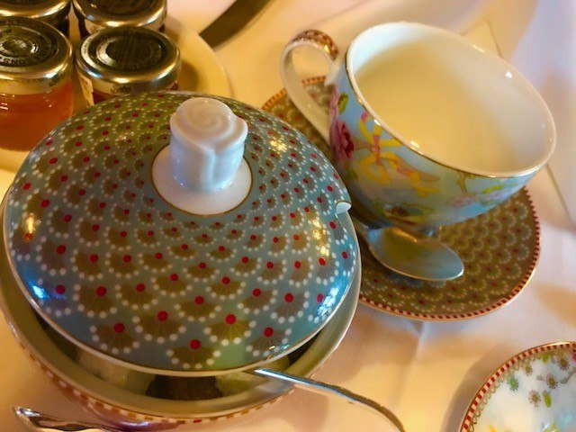 afternoon tea crockery at ockenden manor