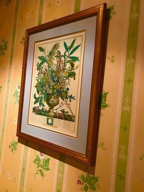 framed print of greenery on coloured wallpaper
