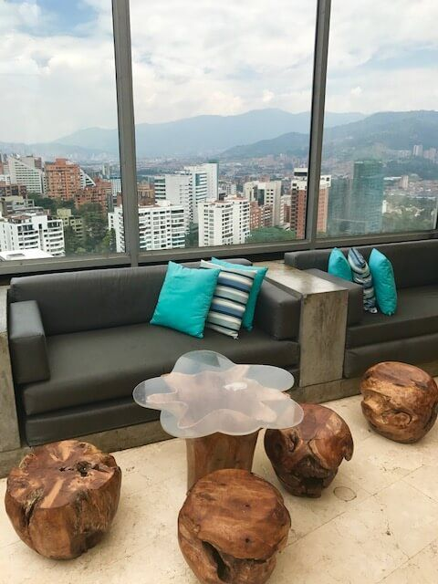 charlee hotel medellin bar with a view over medellin