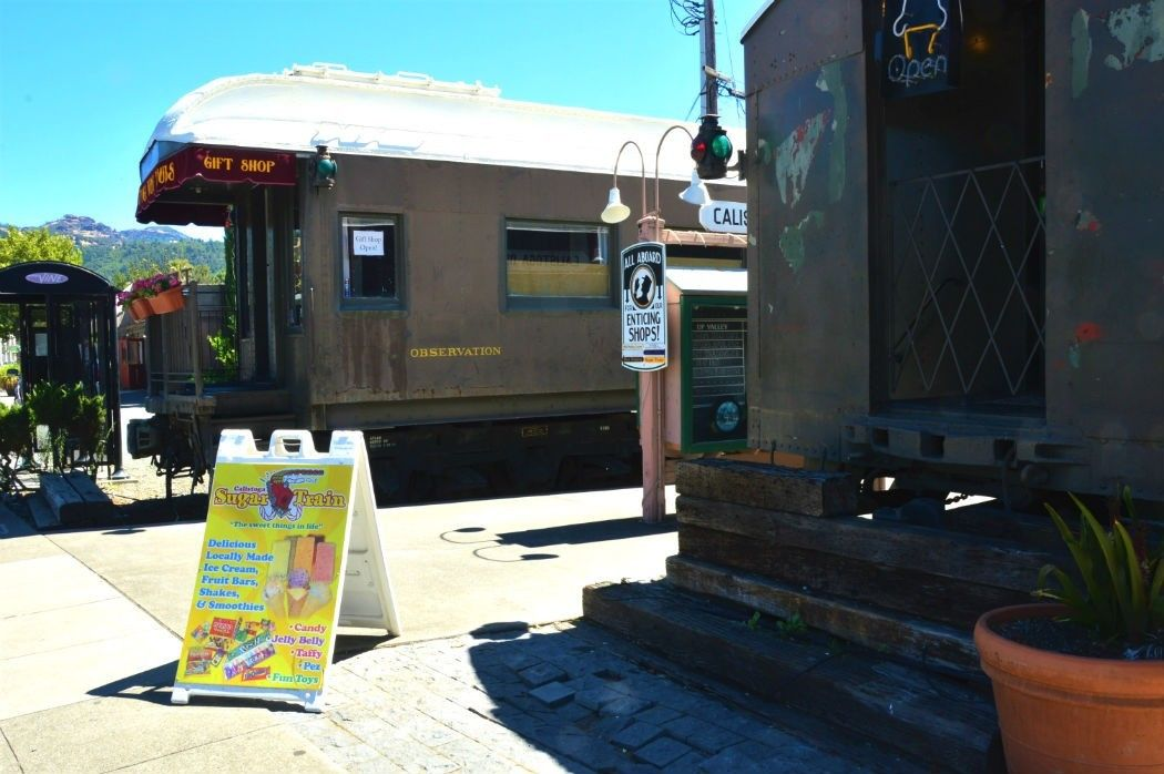 Train carriage shops on main street in Calistoga