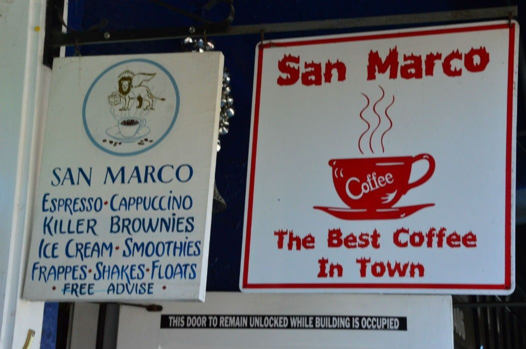 Signs for coffee shops in Calistoga
