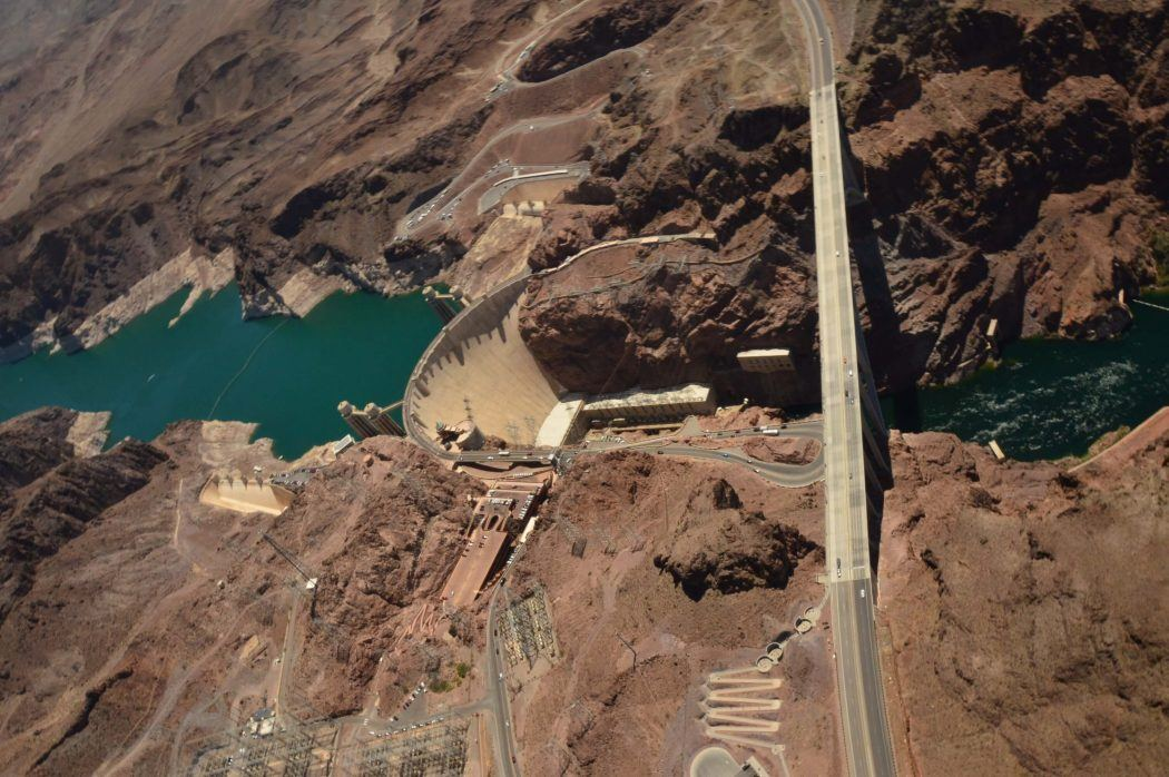 Aerial View of the Hoover Dam from a helicopter