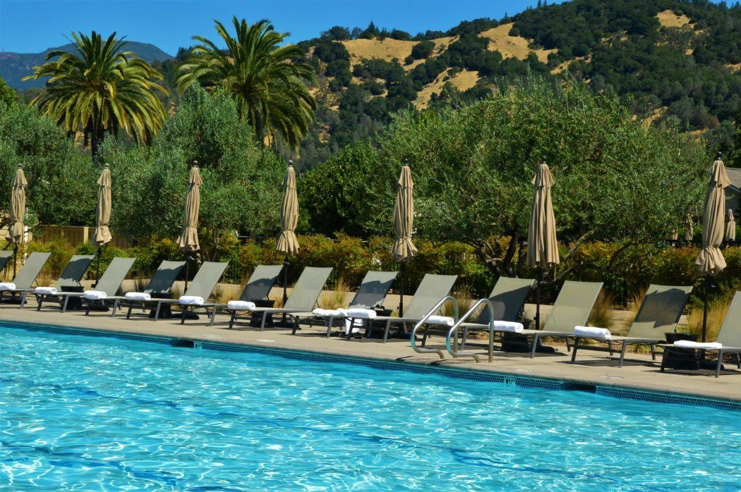 solage calistoga pool with deckchairs