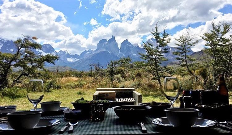 lunch table with Torres Del Paine patagonia in the background