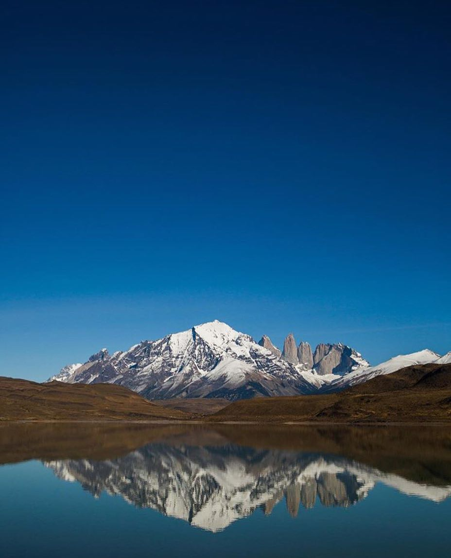 Mountain against lake in Torres Del Paine patagonia