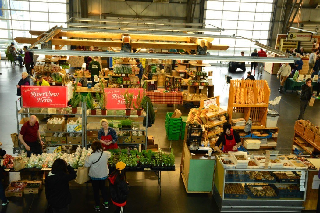 stalls at the halifax farmers market from above