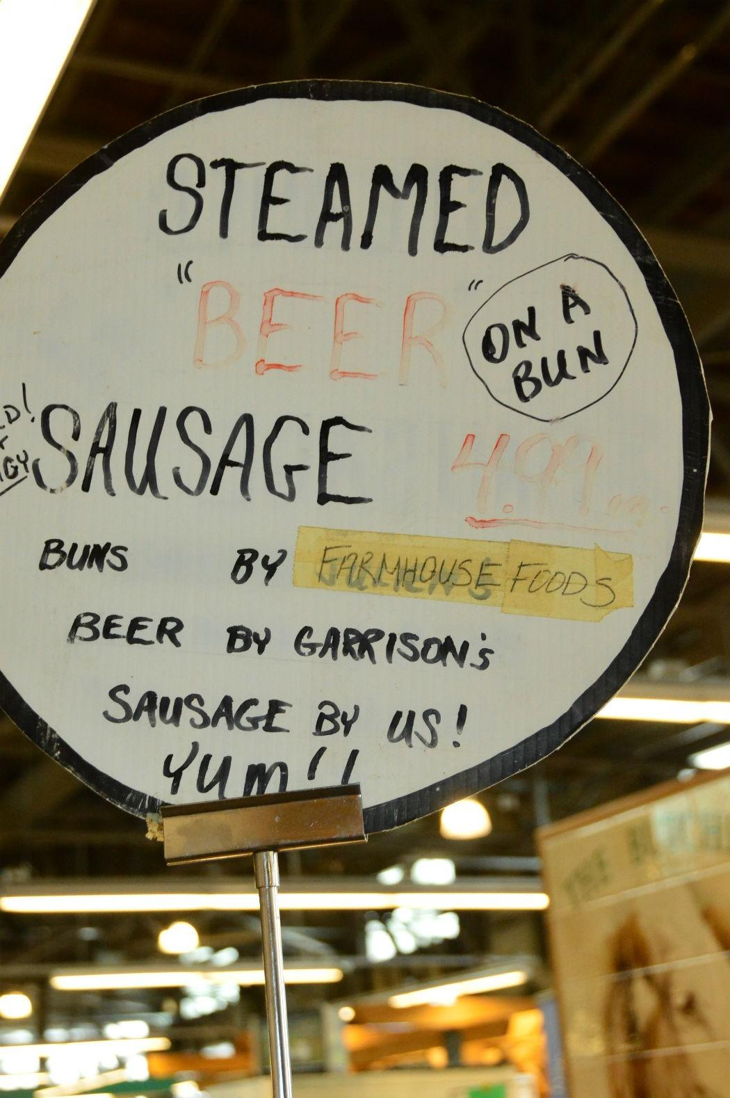 beer sausage sign at halifax farmers market