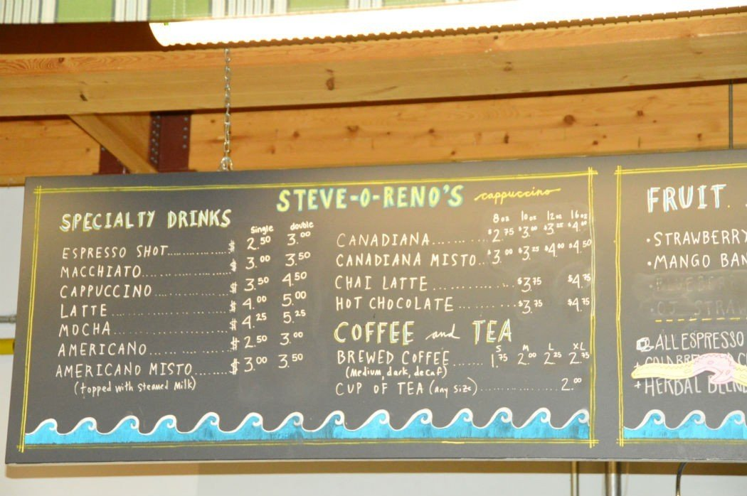 Coffee menu at Steve-O-Reno's