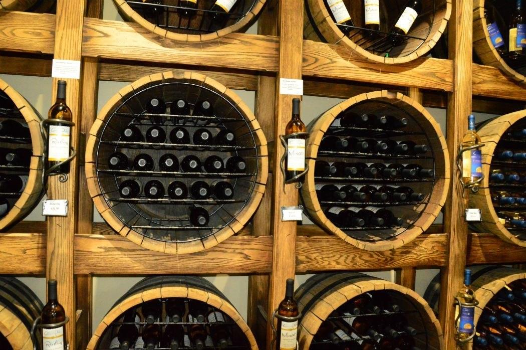 bottles of wine merchandised