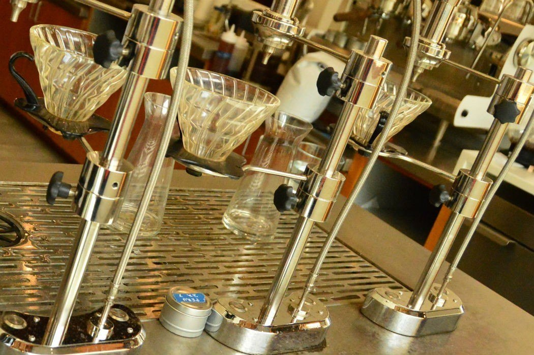 Scientific coffee drippers at Ceremoy Coffee Baltimore